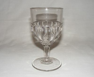 "ANTIQUE 1888 EARLY AMERICAN PRESSED GLASS 6"" WINE GOBLET Eapg RIBBED OPTIC"