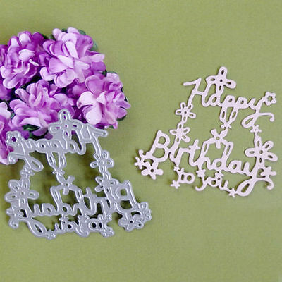 Best Wishes Happy Birthday Cutting Dies Stencils DIY Scrapbook Album Card Crafts