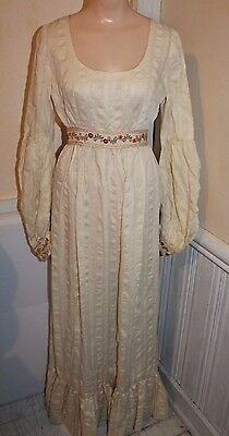 Vintage 1920s 30s Off-White Sheer Embroidered Peasant Dress XS