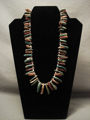Superior Vintage Navajo Natural Green Turquoise Spiny Oyster Silver Necklace Old