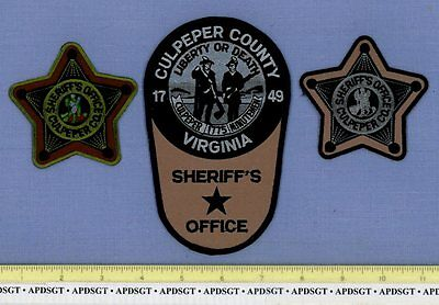 CULPEPER COUNTY ~ SWAT (3 Patches) ~ VIRGINIA VA Police Patch SUBDUED INDIAN