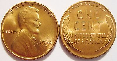 1944-D RED Gem Brilliant Uncirculated Lincoln Cent Essentially Eye Clean