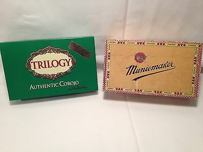 Two Cigar Boxes Muniemaker Trilogy Authentic Corojo EMPTY