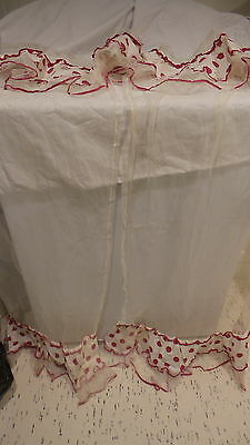CURTAIN PANELS & Valence, Red Polka Dots on Sheer, 2 Styles