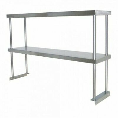 1829 x 300mm STAINLESS STEEL BENCH DOUBLE OVERSHELF KITCHEN FOOD PREP SHELF E0