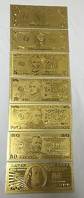 Lot of 7 pieces .999 24kt Gold US Banknotes 1, 2, 5, 10, 20, 50 & $100 + Sleeves