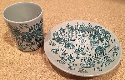 Hoyrup Nymolle Art Faience Cup & Plate Denmark Ltd Ed #4006 Sailboats Church