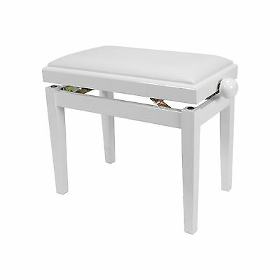 New Timber Trim Height Adjustable Piano Stool (White Gloss)