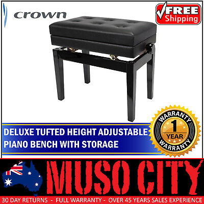 New Crown Height-Adjustable Piano Stool with Storage Compartment Black Gloss