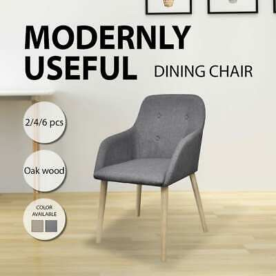 Dark Grey/Beige 2/4/6pcs Fabric Dining Chairs Oak Wooden Armchair Kitchen Cafe