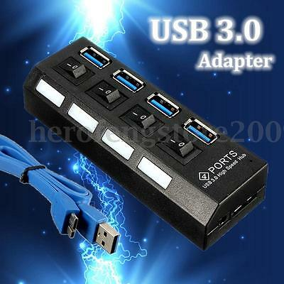 4/7 Ports USB 3.0 HUB External Powered + AU AC Adapter Cable For Laptop PC Phone