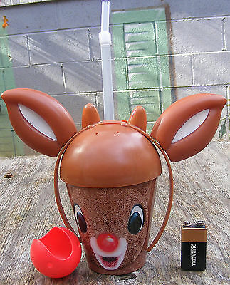 """Scarce DENNY'S Drinking Cup KIDS Rudolph 3D Reindeer 9"""" EARS Straw LOGO RARE Mnt"""