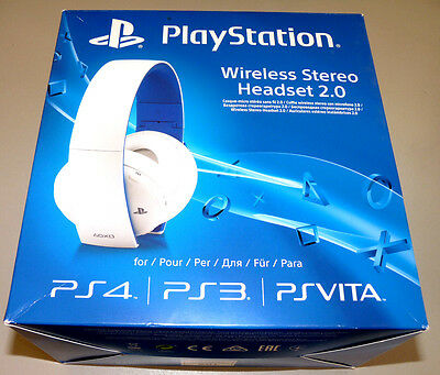 ORIGINAL SONY WIRELESS STEREO HEADSET 2.0 WEISS Playstation 3 4 PS3 PS4 Vita 7.1