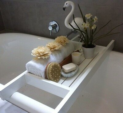 Timber Bath Caddy, Wood Slats 'NEW' Chic White-2017 Home Staging Trend