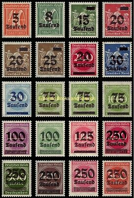 EBS Germany 1923 Inflation Overprints set (I) Michel No. 277-296 MNH**