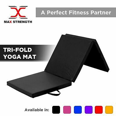 MAXSTRENGTH Tri Folding Exercise Thick Mat Yoga Gym Training Padded Non Slip