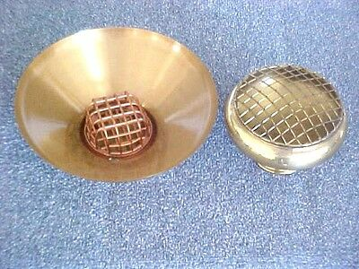 Vintage Brass Flower Frogs With Under Bowls- Lot Of 2