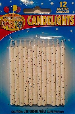 12 PK White/ Multi-Colour Glitter Birthday Candles Party Cake Decorations