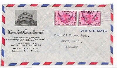 AS189 NICARAGUA Managua to GB Luton 'Vauxhall' Airmail Cover. [Right corner cut]