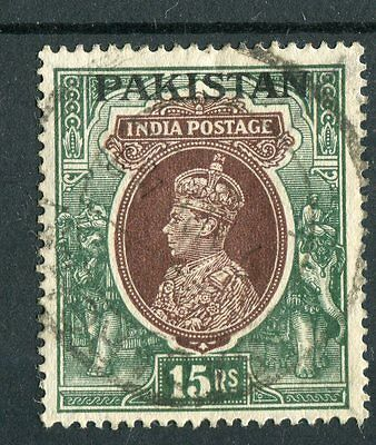 Pakistan KGVI 1947 15r brown & green SG18 used