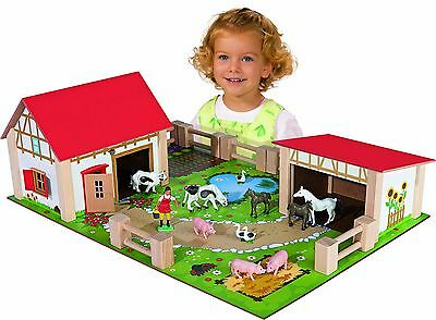 Play Farm Set Kids Childrens Childs Wooden Animals Toy Play Fun Figures Houses