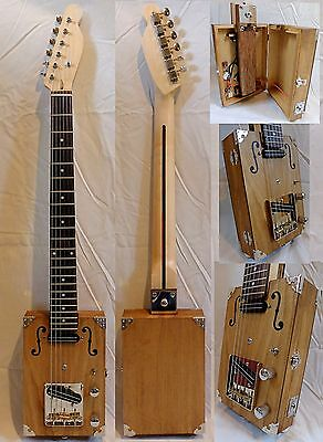 Carl's Custom Deluxe 2 Pickup Pro Handcrafted 6 String Electric Cigar Box Guitar