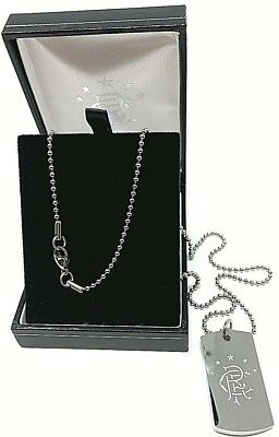 Glasgow Rangers Fc Stainless Steel Engraved Crest Dog Tag Chain Pendant Necklace