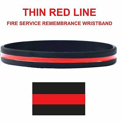 Thin Red Line Fire Service Remembrance Silicon Wristband - Adult Size - UK Stock