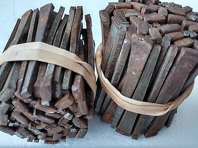 Antique Steel Cut Nails,  Vintage, Square,  2 lbs, rust, Hardened, 2 1/4""
