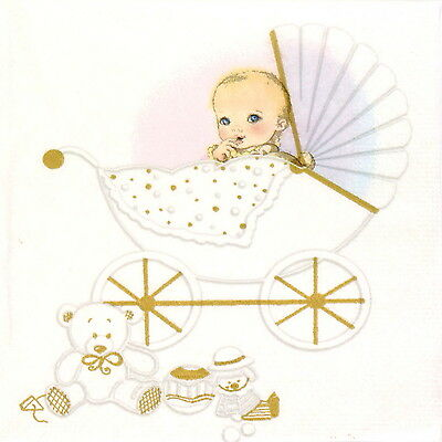 4x Paper Napkins for Decoupage Decopatch Craft New Born Baby