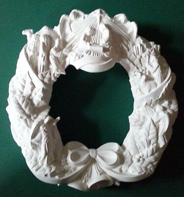 "Ceramic Bisque Unpainted Nativity Wreath. 12""/ 300mm approx. Paint your own"
