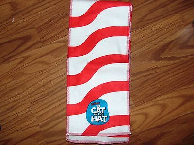 Dr. Seuss scarf, red and white stripes, Cat in the Hat