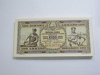 National Bank 1946 Yugoslavia 100 Dinara Gem Unc Old Banknote Collection Lot