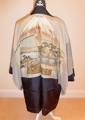 Vintage Men's Japanese Kimono Jacket Navy Blue Slubbed Silk 'Postcards/Fuji' S/M • EUR 28,44