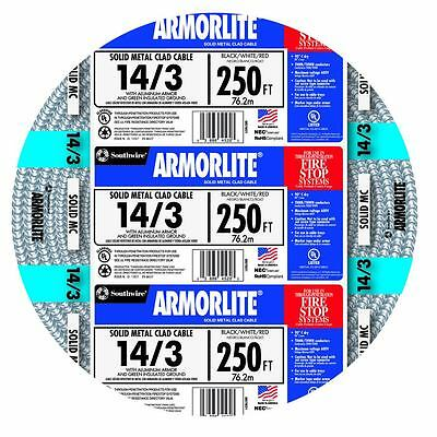 Armorlite 250-ft 14/3 Aluminum MC Cable Electrical Wire power lighting control
