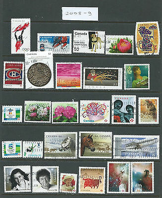 Canada Collection of 27 used stamp from 2008 or 2009