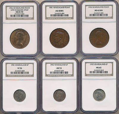 MAKE AN OFFER! -- New Zealand Pre-Decimal Collection 1940-1956 - NGC GRADED