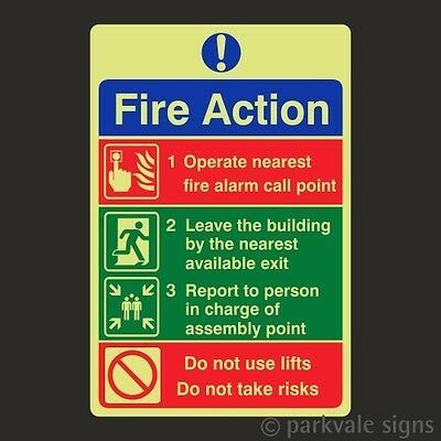 Photoluminescent General Fire Action Sign (7812)
