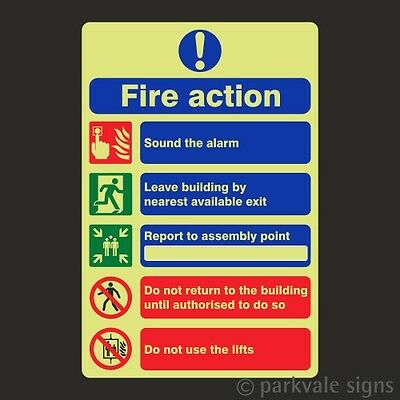 Photoluminescent General Fire Action Sign (7814)