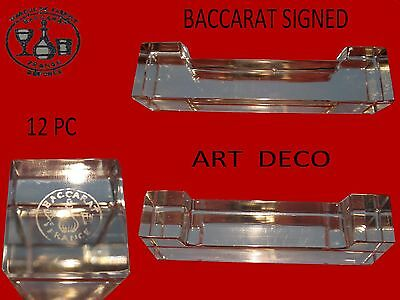 BACCARAT French crystal knifes rests  baccarat signed w/box 12 pc