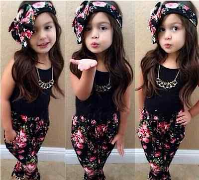 Girls Fashion floral casual clothing set outfit +headband age 2 yeras