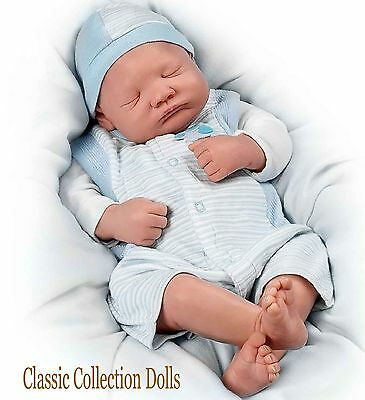 "Ashton Drake ""WELCOME HOME BABY BOY"" LIFELIKE NEWBORN BABY DOLL-NEW-IN STOCK !"