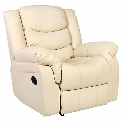 Seattle Cream Leather Recliner Armchair Sofa Home Lounge Chair Reclining