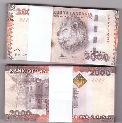 TANZANIA FULL BUNDLE OF 100 X 2000 SHILLING UNC BANKNOTE P42b 2015 LION