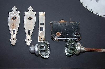 Antique 2 Org. Clear Glass Doorknobs Morties Lock,caps, Stems And Back Plate