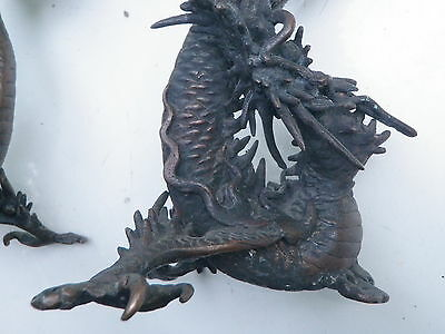 Antique ASIAN Old Bronze Dragon Statues Chinese Japanese Candlestick Set