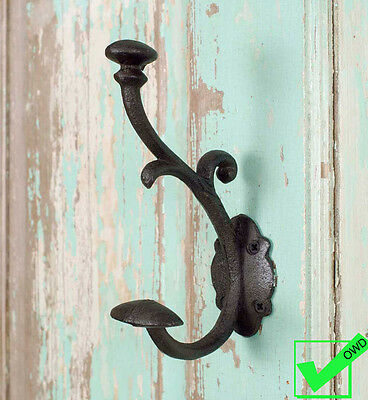 Cast Iron Coat Hat Scroll WALL HOOK Rustic Metal antique vintage