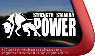STRENGTH STAMINA POWER | High Quality Weight Pulling Pitbull Vinyl Dog Decal