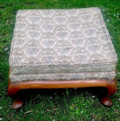 Antique Vintage Stool Tapestry Top Queen Anne Legs