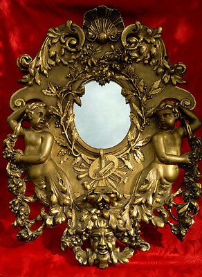 "Antique French Carved Gilt Wood Gesso Cherub Putti Wall Mirror 34"" by 25"""